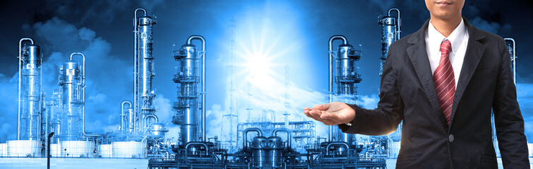 business man and refinery industry plant