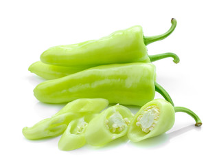 Green hot chili pepper on white