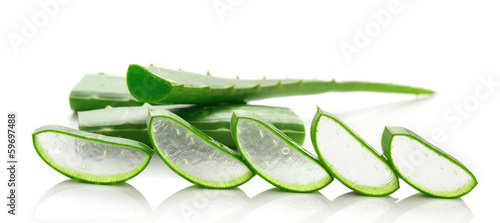 Foto op Canvas Cactus aloe vera fresh leaf. isolated over white