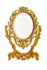 Golden antique mirror, clipping path included