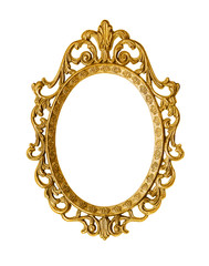 Golden antique frame, clipping path included