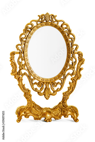 Leinwanddruck Bild Golden antique mirror, clipping path included