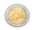 two euro coin on white background
