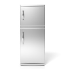 3D render of large silver refrigerator isolated one white