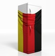 3D refrigerator with german flag isolated one white