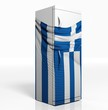 3D refrigerator with greek flag isolated one white