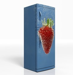 3D render of large refrigerator with strawberry isolated