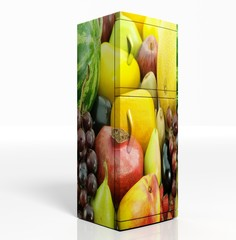 3D render of large refrigerator with fruits isolated
