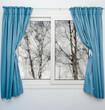 Zdjęcia na płótnie, fototapety, obrazy : Closed window with curtains in rainy autumn weather
