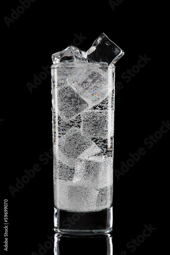 Glass with water and ice.