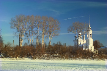 Russian winter landscape small town