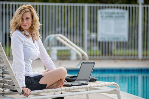 Young twenties caucasian career woman working remote
