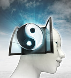 soul harmony coming out or in human head with sky background poster