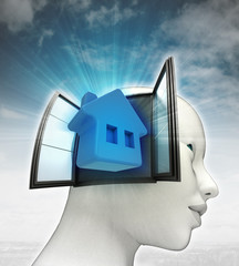 home living coming out or in human head with sky background