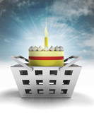 birthday cake product as trade merchandise with sky flare poster