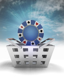 poker chip as trade merchandise with sky flare poster