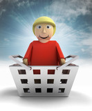 woman figure character as trade merchandise with sky flare poster