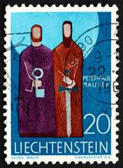 Postage stamp Liechtenstein 1967 Peter and Paul, Patron Saints