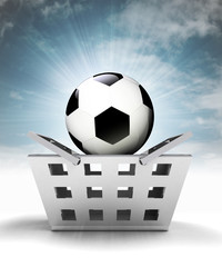 football ball as trade merchandise with sky flare