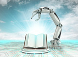 cybernetic robotic hand technological knowledge description with cloudy sky poster