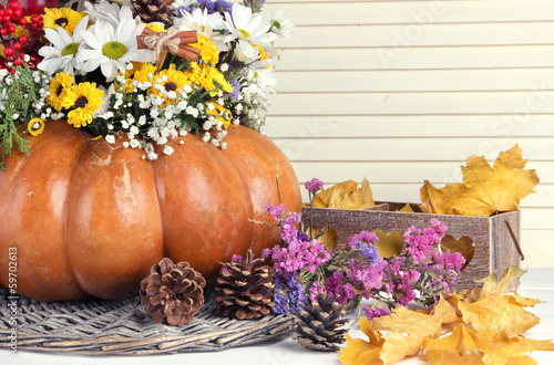 Beautiful autumn composition in pumpkin with bumps and