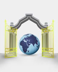 golden gate entrance with Africa earth globe vector