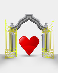 golden gate entrance with red heart vector