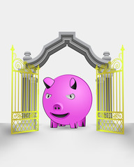 golden gate entrance with happy pig vector