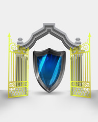 golden gate entrance with new security shield vector