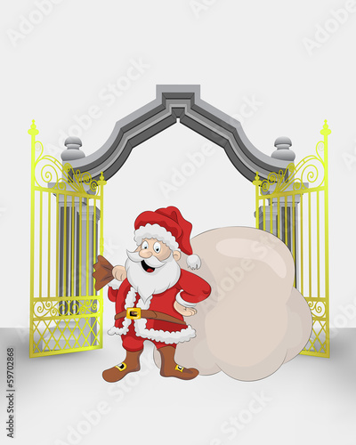 golden gate entrance with Santa Claus with bag vector