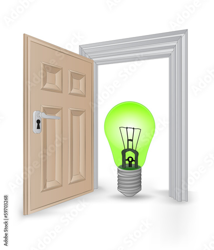 open isolated doorway frame with green ecological bulb vector