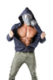 Muscular man wearing antigas mask, naked ripped torso