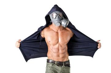 Muscular man wearing antigas mask, naked ripped torso