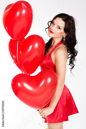 valentine's day beautiful young woman wearing red dress