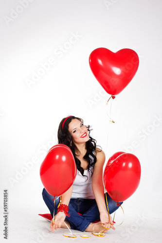 valentine's day beautiful young woman