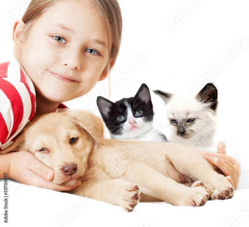 girl with kitten and puppy