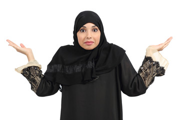Arab woman doubting and gesturing