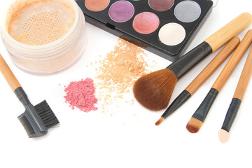 Make-up brush set and facial  powder isolated