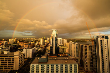 Perth Skyline with Rainbow
