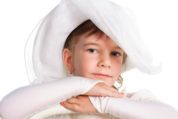 portrait of little girl wearing vintage white hat, over white