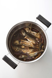 Thai sweet boiled mackerel in pot,close up