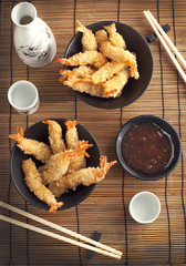 Tempura Shrimps (Deep Fried Shrimps) with sauce