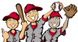 Fototapety Vector cartoon of a group of children ready to play baseball