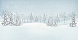 Fototapety Christmas winter landscape background. Vector.