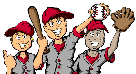 Vector cartoon of a group of children ready to play baseball
