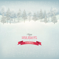 Christmas winter landscape background. Vector.
