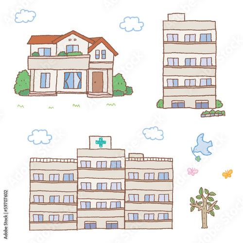 家とマンションと病院