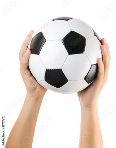 Hands holding soccer ball up