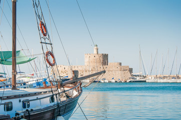 fortress of saint Nicholas, Mandraki Harbour, Rhodes, Greece