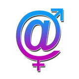 At Sign With Male Female Symbol